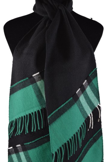 Burberry New Burberry Cashmere Patchwork Black Green Nova Check Scarf Image 8