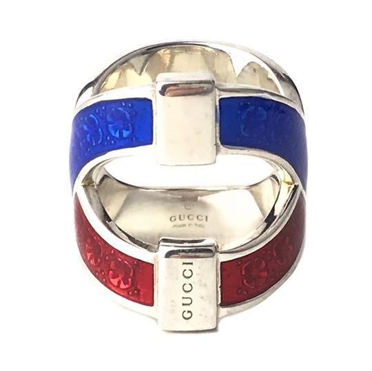 Gucci NEW GUCCI Garden Sterling Silver Enamel Ring, Sz. 8.75US Image 2