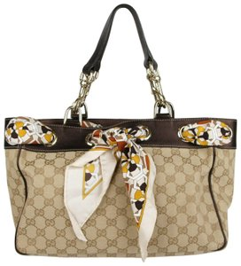 Gucci Canvas Tote in Beige Brown