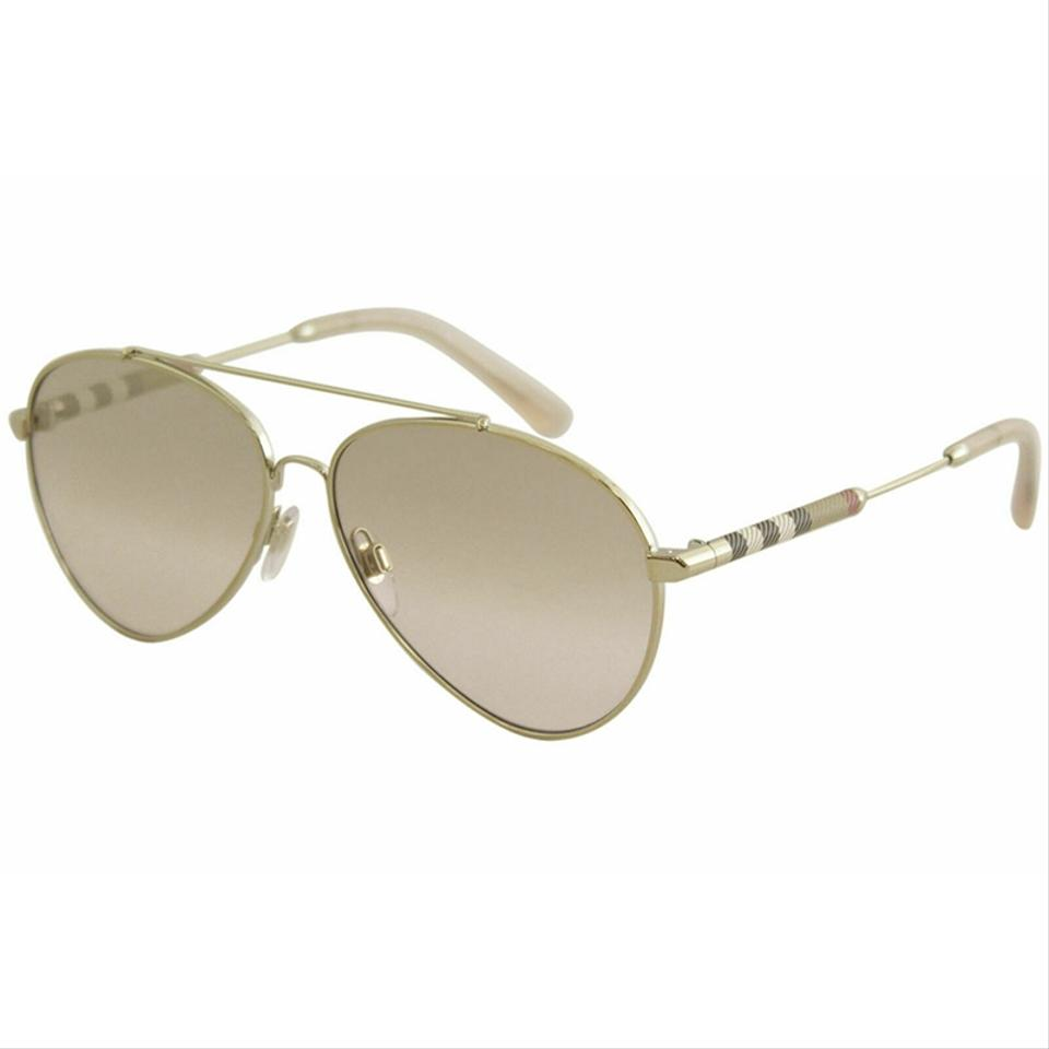 59acffeb9aa8 Burberry Light Gold Frame & Brown Gradient Mirrored Lens Be3092q 1145  Unisex Pilot Style Sunglasses