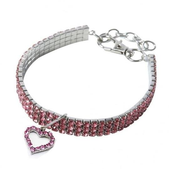 Other Cute pink Crystal Heart Cat or Dog Collar Image 1