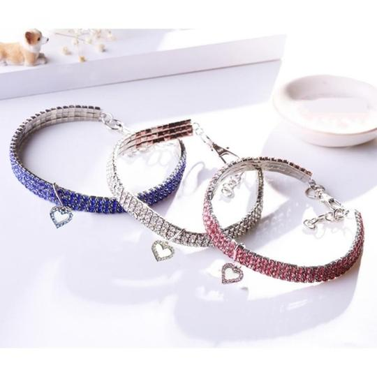 Other Cute pink Crystal Heart Cat or Dog Collar Image 3