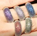 Donna's Wedding Essentials Fashion Birthstone 925 Silver Stamped Ring 6 Colors Sizes 5-12 wedding bride engagement Image 1