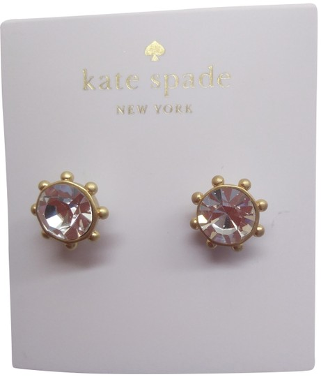 Kate Spade Kate Spade New Rhinestone/Gold Wagon Wheel Earrings Image 0