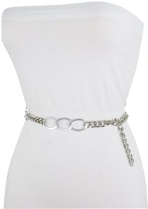 Alwaystyle4you Women Fashion Narrow Strap Belt Silver Color Metal Chain Link XS S M