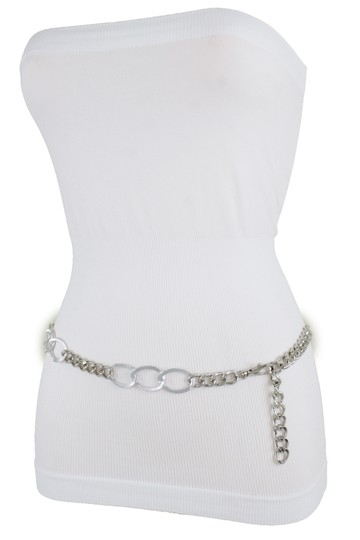 Alwaystyle4you Women Fashion Narrow Strap Belt Silver Color Metal Chain Link XS S M Image 1