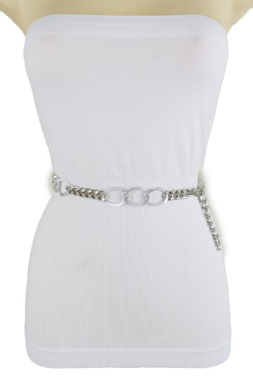 Alwaystyle4you Women Fashion Narrow Strap Belt Silver Color Metal Chain Link XS S M Image 11