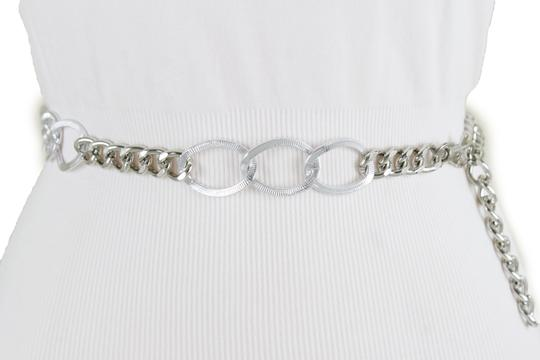 Alwaystyle4you Women Fashion Narrow Strap Belt Silver Color Metal Chain Link XS S M Image 2