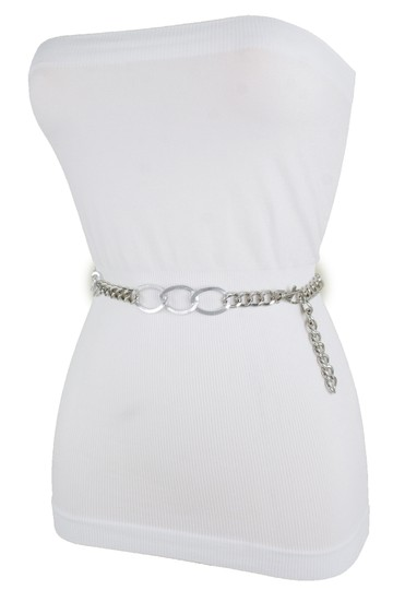 Alwaystyle4you Women Fashion Narrow Strap Belt Silver Color Metal Chain Link XS S M Image 4
