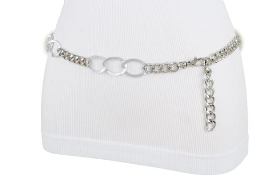 Alwaystyle4you Women Fashion Narrow Strap Belt Silver Color Metal Chain Link XS S M Image 5