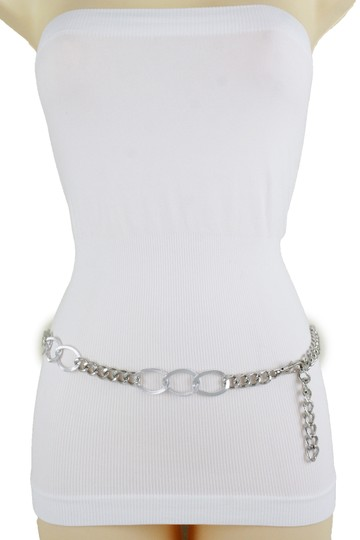 Alwaystyle4you Women Fashion Narrow Strap Belt Silver Color Metal Chain Link XS S M Image 6