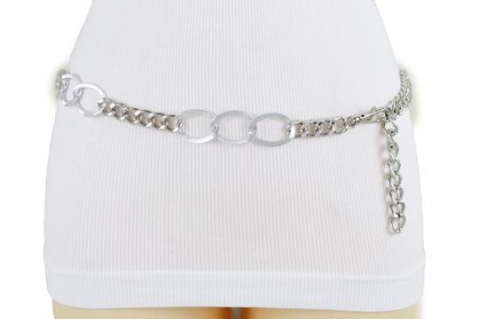 Alwaystyle4you Women Fashion Narrow Strap Belt Silver Color Metal Chain Link XS S M Image 7