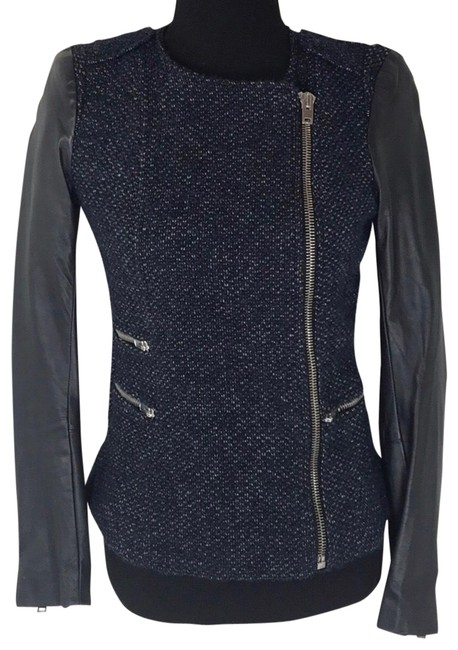 Preload https://img-static.tradesy.com/item/25767430/maje-black-and-blue-edgy-tweed-leather-jacket-size-8-m-0-1-650-650.jpg