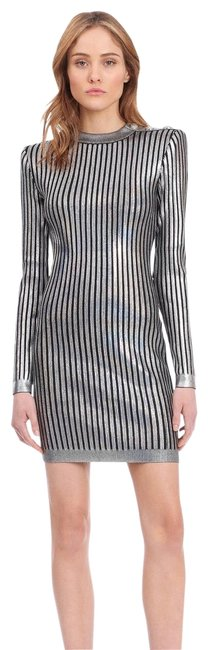 Preload https://img-static.tradesy.com/item/25767432/balmain-striped-mini-silver-and-black-short-night-out-dress-size-4-s-0-2-650-650.jpg