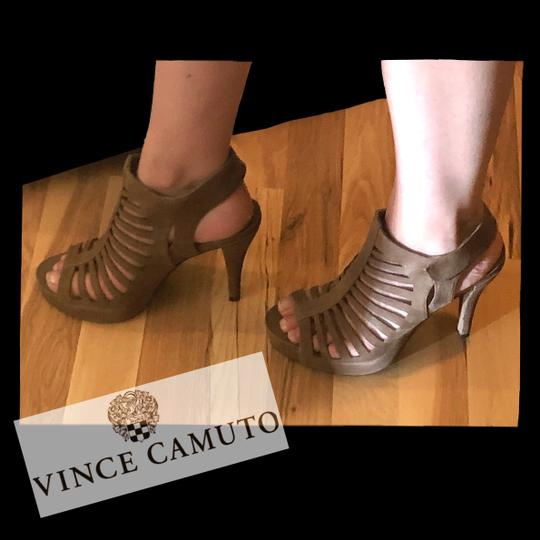 Vince Camuto Leather Cut-out Cutaway Textured Suede Tan Sandals Image 4