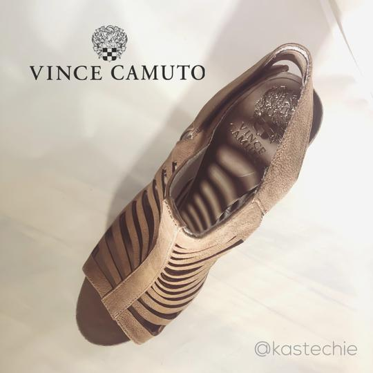 Vince Camuto Leather Cut-out Cutaway Textured Suede Tan Sandals Image 7