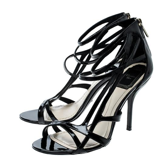 Dior Patent Leather Strappy Black Sandals Image 4