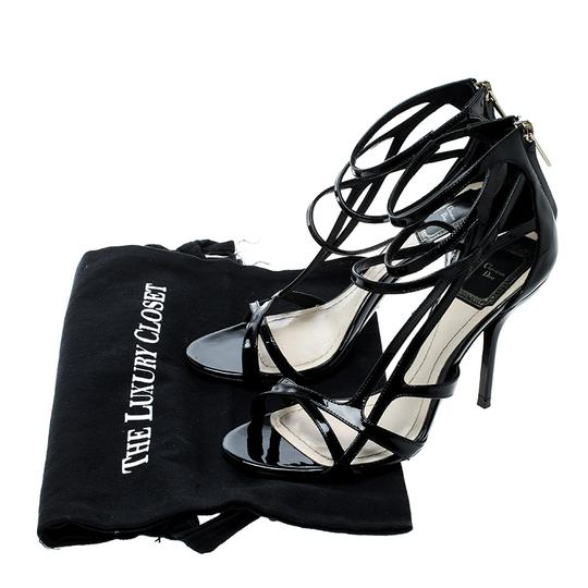 Dior Patent Leather Strappy Black Sandals Image 7