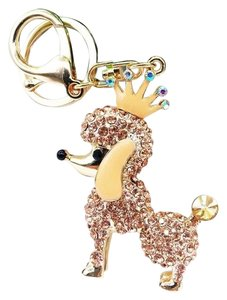 Other Adorable Champagne Crystal Poodle with Crown Key Ring/ Purse Charm