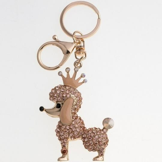 Other Adorable Champagne Crystal Poodle with Crown Key Ring/ Purse Charm Image 1