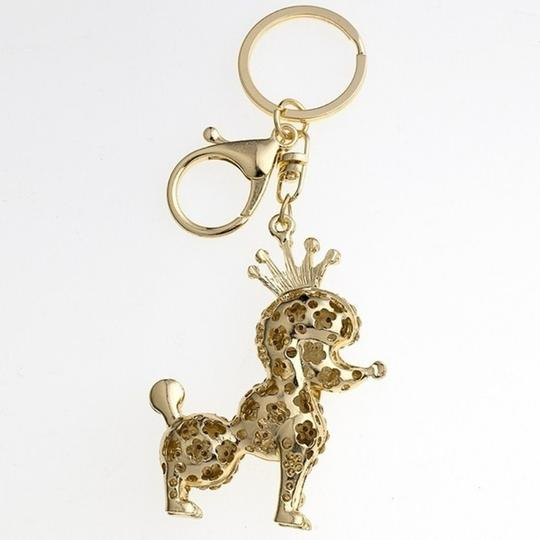 Other Adorable Champagne Crystal Poodle with Crown Key Ring/ Purse Charm Image 3