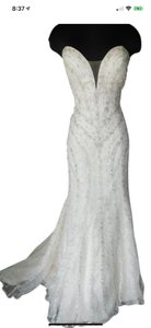 Maggie Sottero Ivory Beaded Sexy Wedding Dress Size 12 (L)