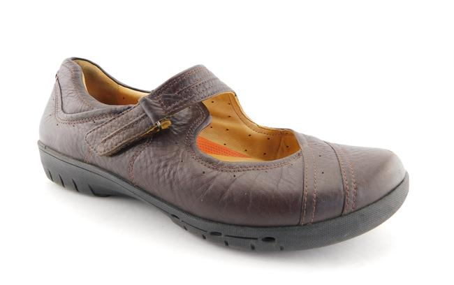 Item - Brown Unstructured Leather Mary Jane Flats Size US 8 Wide (C, D)