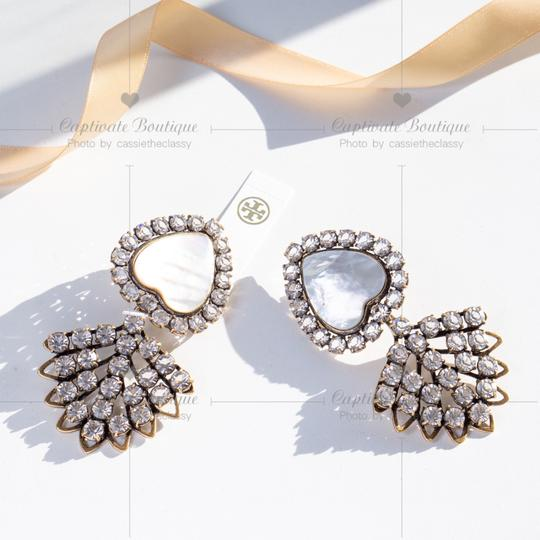 Tory Burch TORY BURCH CRYSTAL MOTHER-OF-PEARL HEART EARRING Image 2