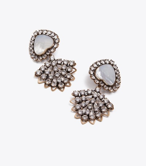 Tory Burch TORY BURCH CRYSTAL MOTHER-OF-PEARL HEART EARRING Image 6