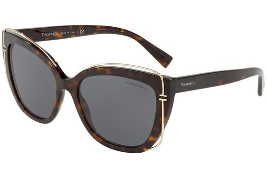 Tiffany & Co. TF4148 8015/3F Havana Gold Frame Black Lens Sunglasses 54mm Italy Image 2
