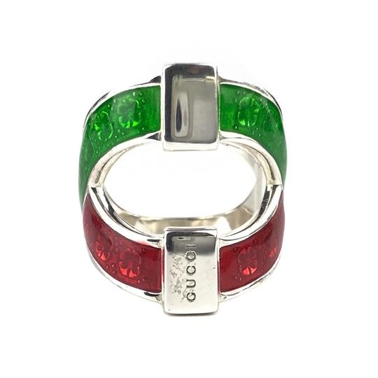 Gucci NEW GUCCI Garden Sterling Silver and Enamel Ring Sz. 4.5 US Image 1