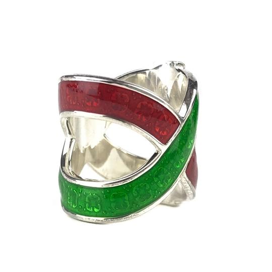 Gucci NEW GUCCI Garden Sterling Silver and Enamel Ring Sz. 4.5 US Image 10