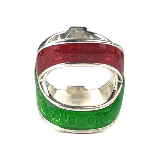 Gucci NEW GUCCI Garden Sterling Silver and Enamel Ring Sz. 4.5 US Image 7
