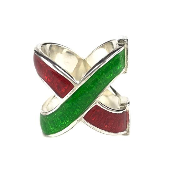 Gucci NEW GUCCI Garden Sterling Silver and Enamel Ring Sz. 4.5 US Image 9