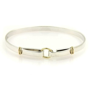 Tiffany & Co. Sterling Silver 18k Yellow Gold Double Loop Hook Bangle