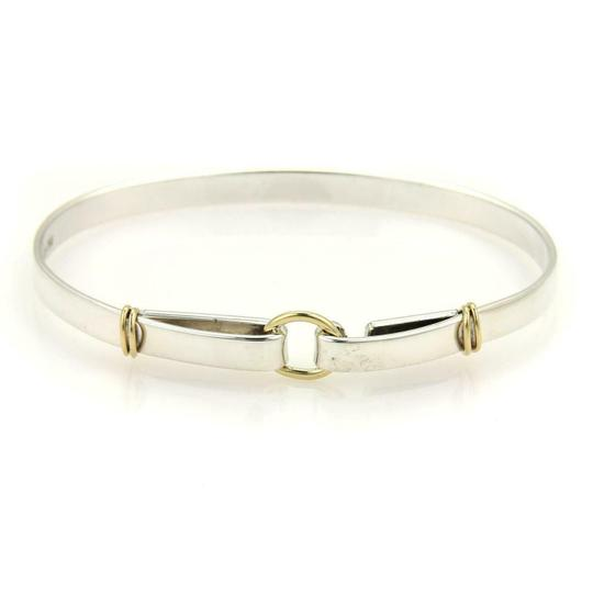 Preload https://img-static.tradesy.com/item/25768012/tiffany-and-co-61096-sterling-silver-18k-yellow-gold-double-loop-hook-bangle-bracelet-0-0-540-540.jpg