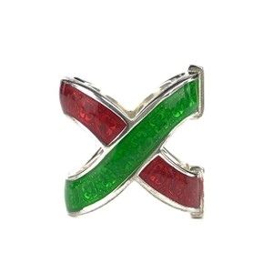 Gucci NEW GUCCI Garden Sterling Silver and Enamel Ring Sz. 6-3/4 US