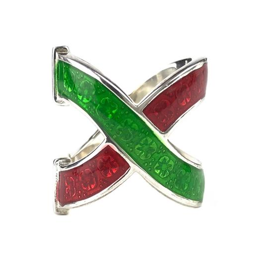 Gucci NEW GUCCI Garden Sterling Silver and Enamel Ring Sz. 6-3/4 US Image 2