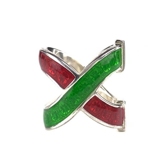 Gucci NEW GUCCI Garden Sterling Silver and Enamel Ring Sz. 6-3/4 US Image 4