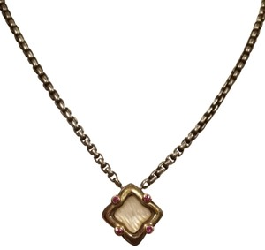 David Yurman David Yurman Pearl Tourmaline Gold Silver Necklace Quatrefoil