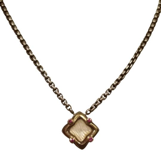 Preload https://img-static.tradesy.com/item/25768088/david-yurman-pink-pearl-tourmaline-gold-silver-quatrefoil-necklace-0-2-540-540.jpg