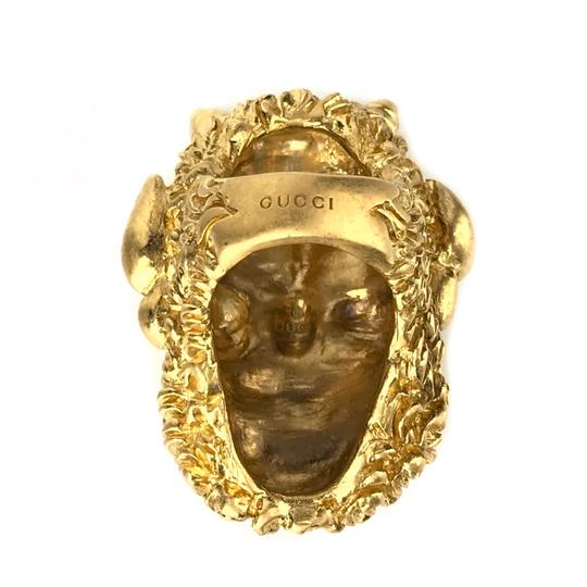 Gucci NEW GUCCI Mask of Silenus Metal Ring, Gold, Size Medium Image 10