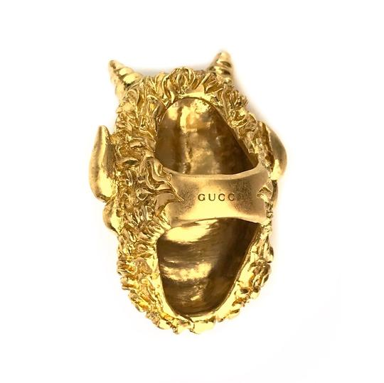 Gucci NEW GUCCI Mask of Silenus Metal Ring, Gold, Size Medium Image 11