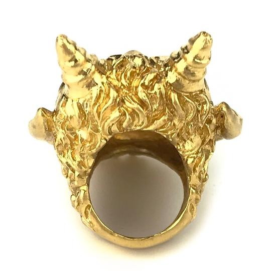 Gucci NEW GUCCI Mask of Silenus Metal Ring, Gold, Size Medium Image 2