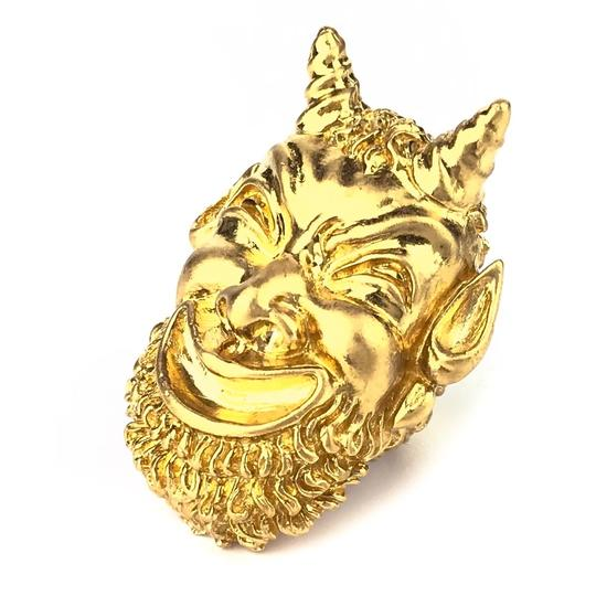 Gucci NEW GUCCI Mask of Silenus Metal Ring, Gold, Size Medium Image 6