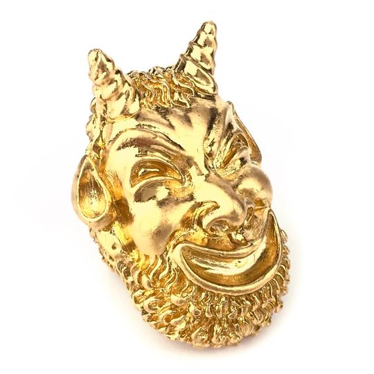 Gucci NEW GUCCI Mask of Silenus Metal Ring, Gold, Size Medium Image 7