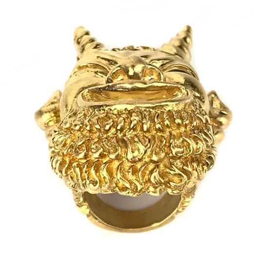 Gucci NEW GUCCI Mask of Silenus Metal Ring, Gold, Size Medium Image 9