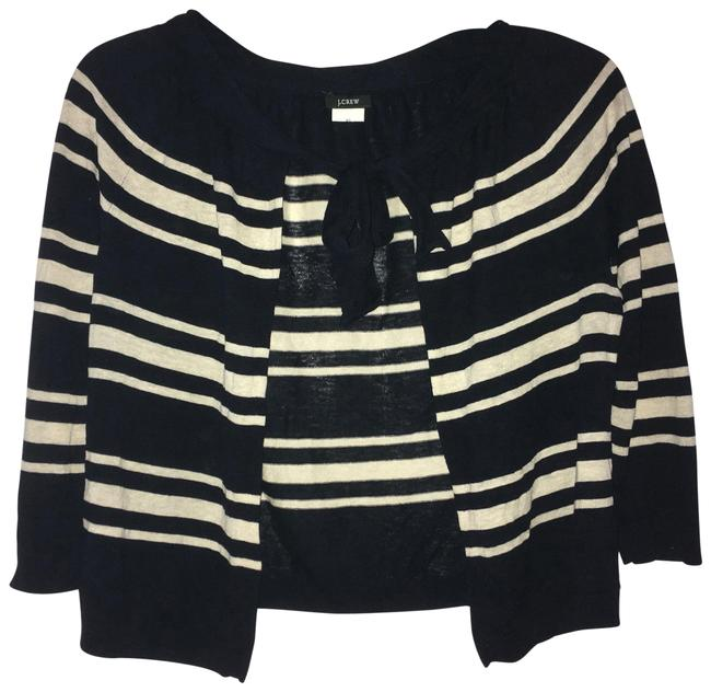 Preload https://img-static.tradesy.com/item/25768110/jcrew-navy-bluecream-striped-cropped-with-tie-cardigan-size-0-xs-0-1-650-650.jpg