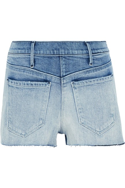 RtA Zip Two-tone Denim Shorts-Medium Wash Image 2