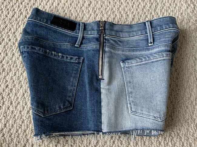 RtA Zip Two-tone Denim Shorts-Medium Wash Image 6